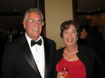 Larry DiTillio with his wife, Marjorie Goldman, at the 2009 WGA Awards ceremony in February 2009, where DiTillio received the Morgan Cox Award