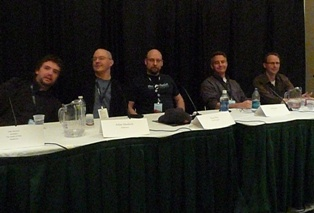 From left to right: John Davison [Editor-in-Chief, Gamepro],Julian Murdoch [journalist, freelance], Russ Pitts [Editor-in-Chief, The Escapist], Jeff Green [EA], Chris Dahlen, [Managing Editor , Kill Screen]