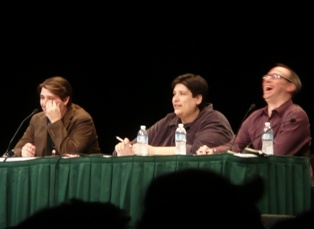 From Left to Right: Jeff Kalles [Penny Arcade], Scott Kurtz [PvP], Tim Train [Big Huge Games]