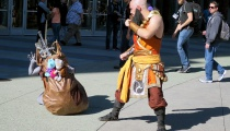 This Diablo 3 monk is ready to get his share of gold and items from a treasure goblin.