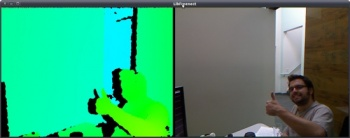 The output of depth information (left) and RGB video (right) which proves Hector's open source driver works with Kinect.