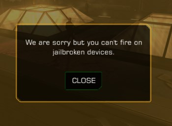 Deus Ex: The Fall jailbreak warning