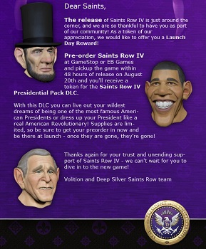 Saints Row IV Presidential Pack Newsletter