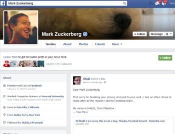 Mark Zuckerbergs Facebook page
