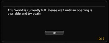 Final Fantasy XIV 1017 Error
