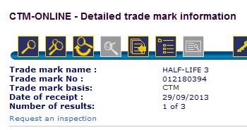 Half-Life 3 trademark filing
