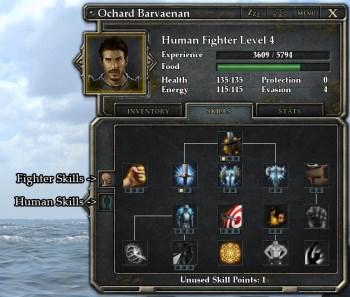 Legend of Grimrock 2 skills screen