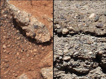 Mars Gale Crater Lake streambed photos