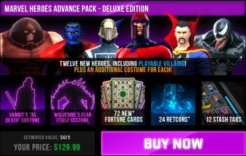 Marvel Heroes advance pack dlc