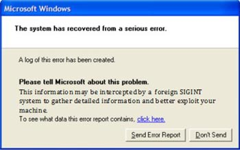 NSA Microsoft Windows error message