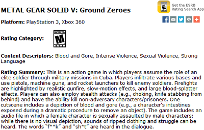 Ground Zeroes ESRB Rating
