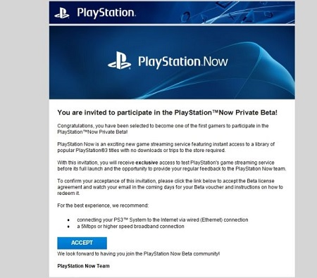 PS Now Beta Invite