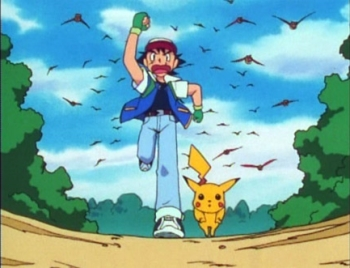 Ash and Pikachu running