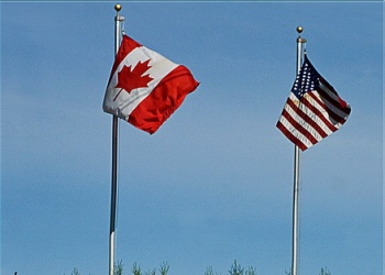 Canada, US flags
