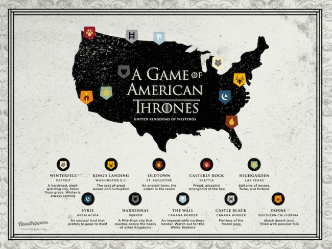 Here's What Game Of Thrones' Map Would Look Like If It Was Based: Game Of Thrones United States Map At Usa Maps