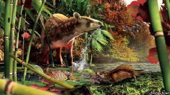 Concept of Eocene creatures