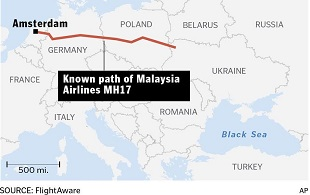 Malaysia Airlines MH17 Flight Path 310x