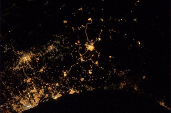 Explosions in Gaza from ISS