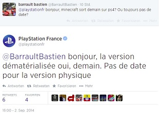 minecraft for PS4 playstation france tweet