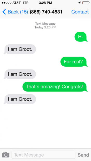 texting groot from guardians of the galaxy