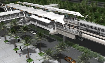Concept art of a rail canopy at a new HART station.