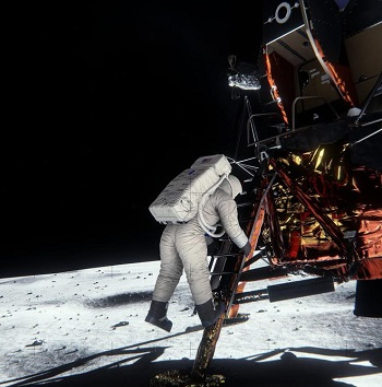 Nvidia's render of the moon landing photo.
