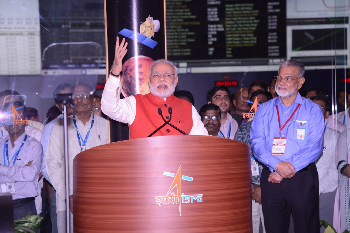 Prime Minister Modi adressing from ISRO's Telemetry, Tracking and Command Network (ISTRAC).
