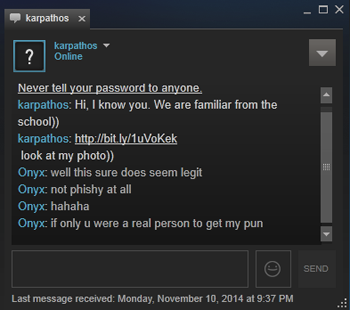 Steam chat malware