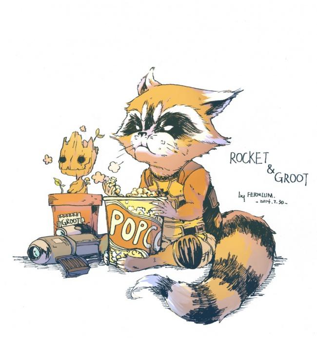 Groot and Rocket popcorn