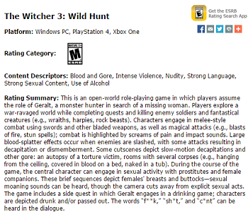 Witcher 3 ESRB Rating