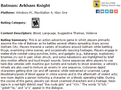 Arkham Knight ESRB