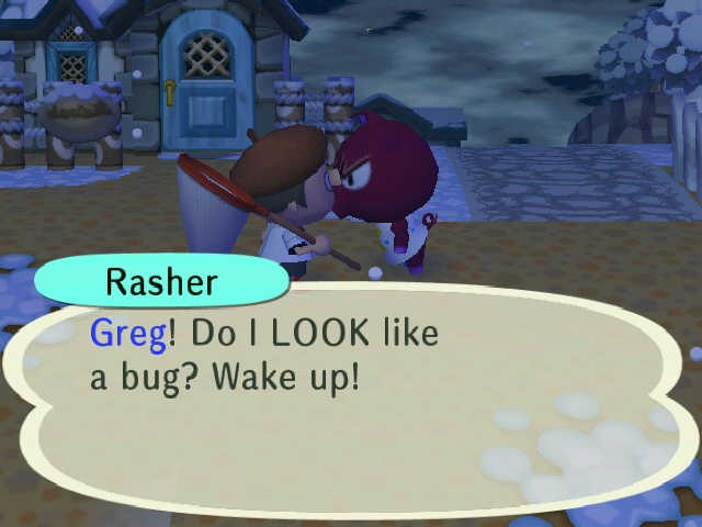 Hitting Villager with a net in Animal Crossing New Leaf