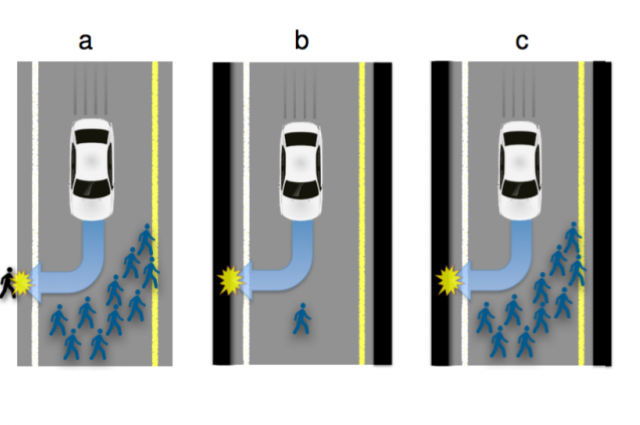 Self Driving Car Moral Dilemma Illustration