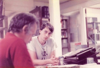 Pete Fenlon (right) with Brian Bouton in a 1985 RPG session.