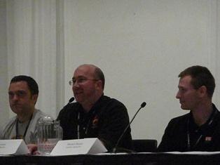 Left to Right: John Abercrombie [Lead Programmer, Irrational Games], Joe Kreiner [Terminal Reality], Mitchell Shuster [Co-owner, LanSlide Gaming PCs]