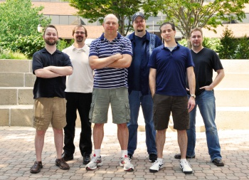 Pictured from left to right: Ian Frazier, Lead Designer; Phil Teschner, Engine Architect; Sean Dunn, Studio Director; Michael Fridley, Executive Producer; Bryant Freitag, Lead Programmer; Tim Coman, Lead Artist