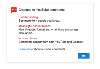 YouTube Comments message