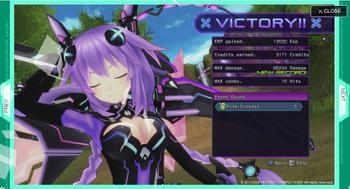 Hyperdimension Neptunia Victory Screen