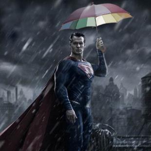 superman in the rain umbrella