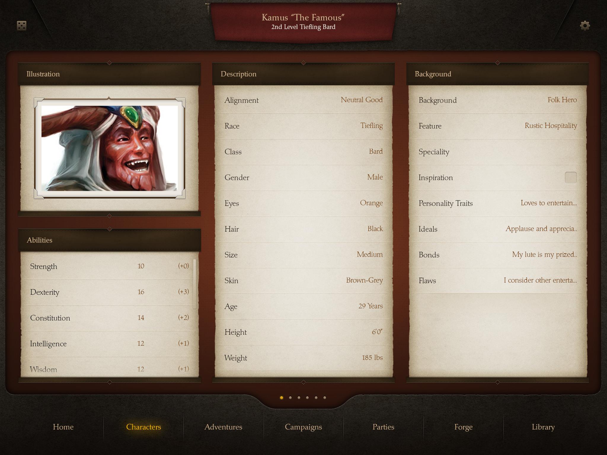D&D DragonScape Character Screen