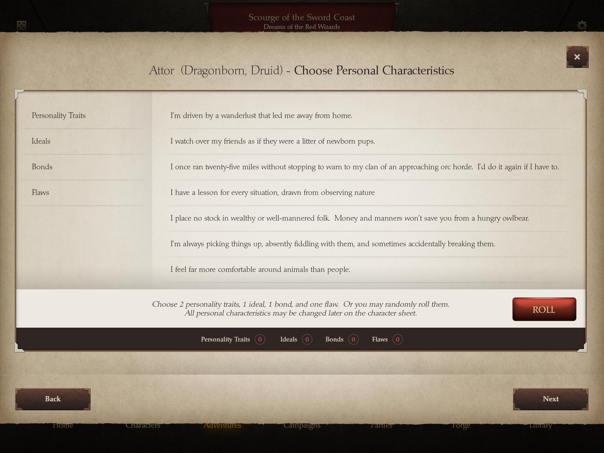 D&D DragonScape Character Attributes Screen