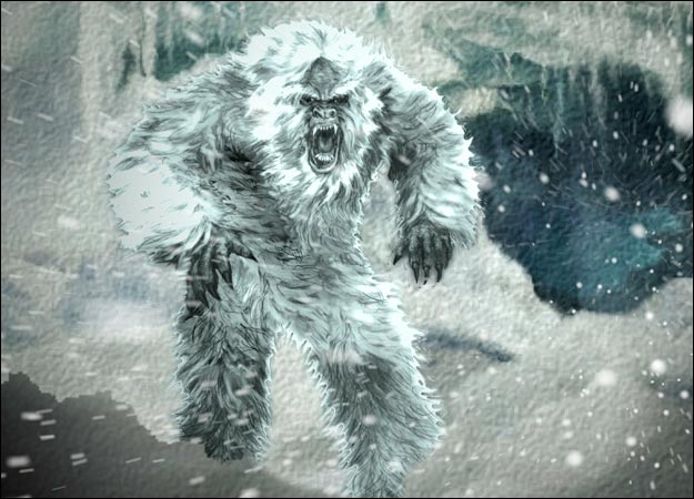 Yeti in a snowstorm