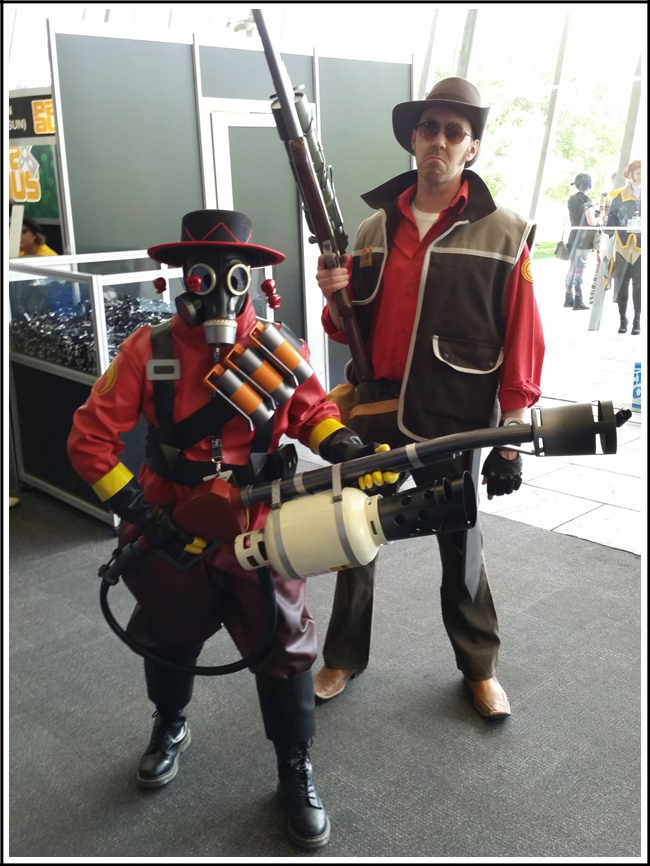 pax aus cosplay day 2 007 tf2 - sniper and pyro