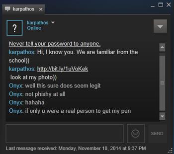Steam chat malware