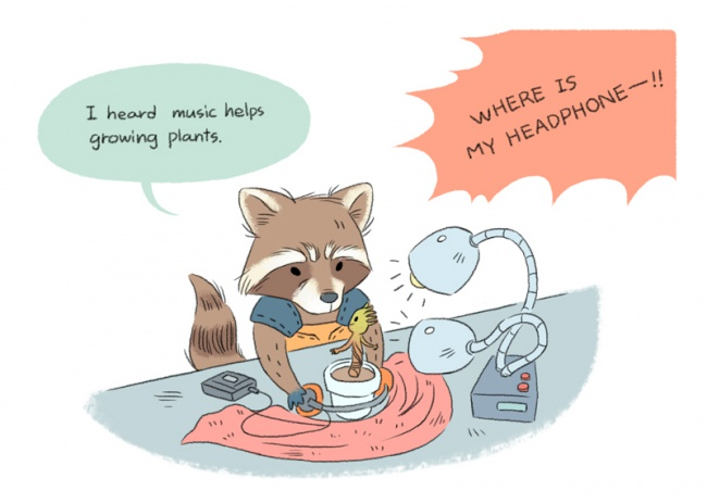 Rocket and baby Groot music