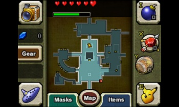 majoras mask 3d map and menu screen