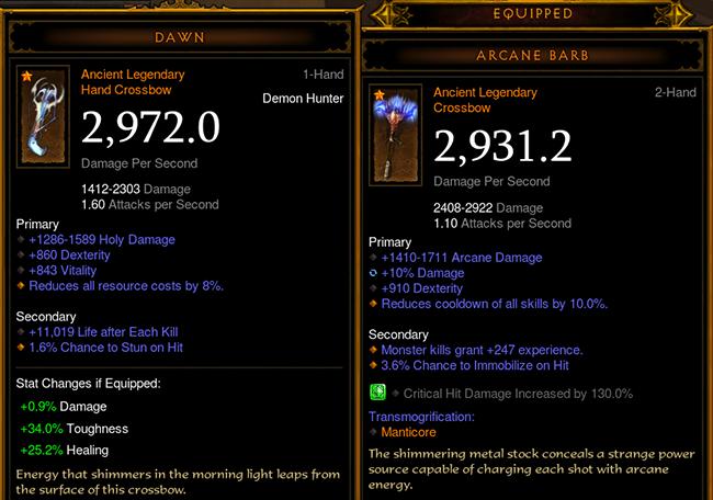 Diablo 3 Weapon Damage Attack Speed Comparison