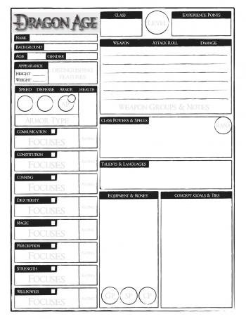 dragon age character sheet